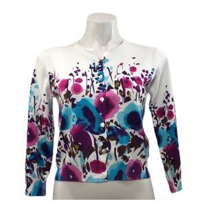 Ronnie Nicole Floral 3/4 Sleeve Button-Up Cardigan